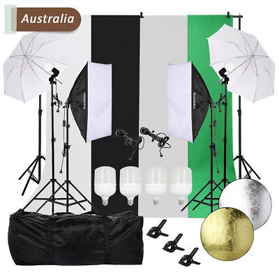 Lighting Studio Background Kit Photography LED Softbox Lights Backdrop Stand