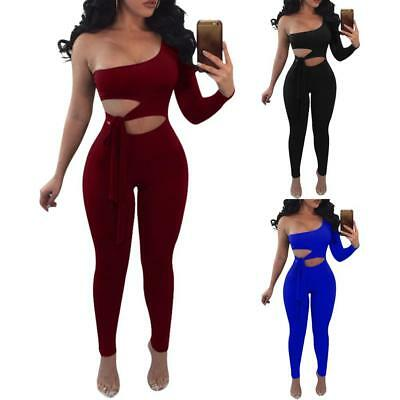 Women's Fashion European And American Sexy One-Shoulder Long-Sleeved Jumpsuit