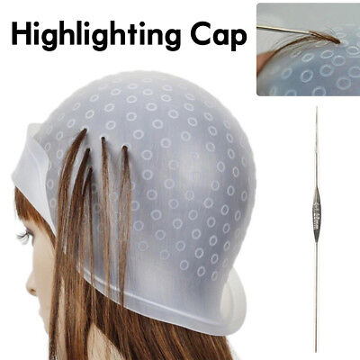 Reusable Styling Hair dressing Coloring Highlighting Cap With Hook Silicone Hair