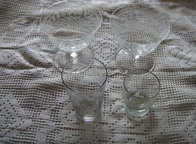 Assorted lot of 4 original Antique Engraved Drinking Glasses. Nice con..
