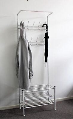 Coat Stand Home Office Clothes Hallway Black Hat Umbrella WHITE Storage