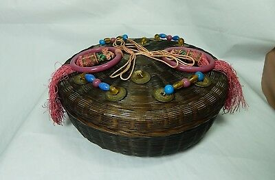 "Chinese 10"" Wicker Sewing Basket with Purple Glass Rings, Beads, Tassels, Coins"