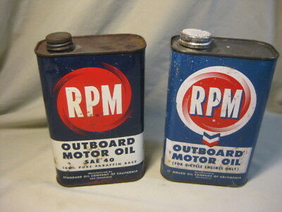 Pair of Vintage Standard Oil Co. RPM Outboard Oil Cans - EMPTY