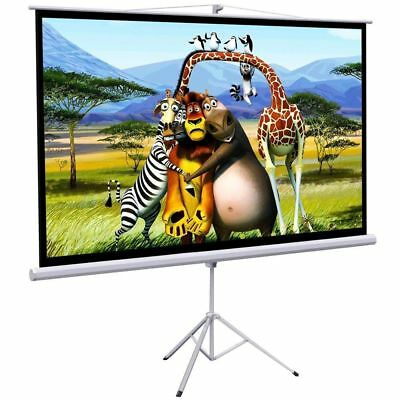 """New Portable 100"""" Projector 16:9 Projection Screen Tripod Pull-up Matte -White"""