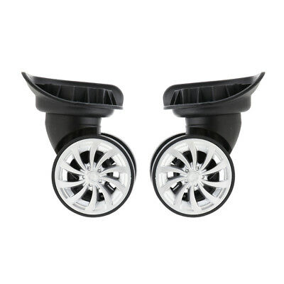 2Pieces Swivel Luggage Wheels Dual Rollert Casters for Suitcase Black