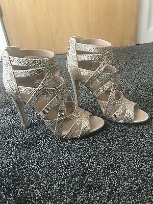 5cae32dff9 LIPSY MARGOT GOLD Glitter Caged Heeled Sandals Size 7 RRP £60 ...