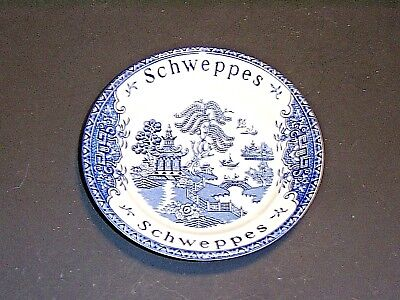 Vintage Wedgwood Enoch England Schweppes Advertising Blue Willow Tip Plate