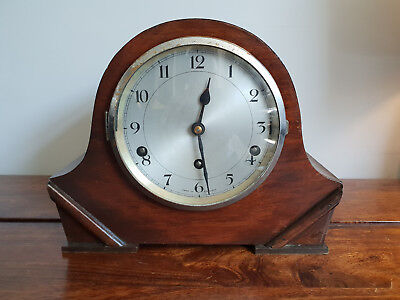Antique 1930's English Mantle Clock with Westminster Strike & Original Pendulum.