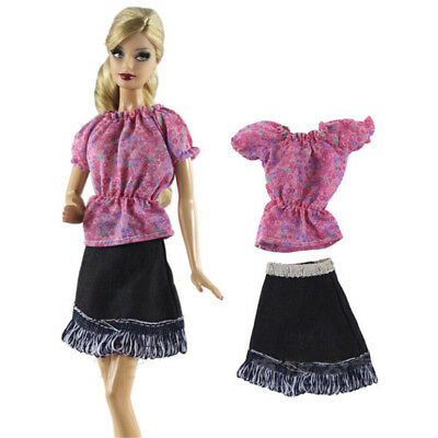 2Pcs/Set Handmade Doll Dress Suit for Barbie 1/6 Doll Party Daily Clothing ESCA