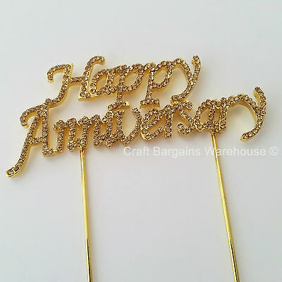 HAPPY ANNIVERSARY GOLD PICK TOPPER DECORATION  GOLDEN WEDDING 50yrs LARGE