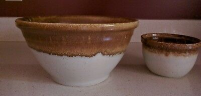 "McCoy Bowls Brown Drip Glaze Speckled Greystone 10"" & 5"" NEW condition"