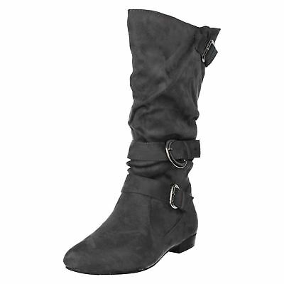 Spot On Ladies Black Calf Lengh Pull-on Boots F5R0067 R11A