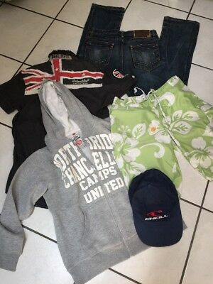 Lot Garcon 14 Ans Jean Et Chemise Deeluxe Maillot Sweat Camps Casquette O'neill
