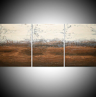 Large 3 Panel Abstract Triptych Canvas Wall Art Abstract Earth Tones Brown