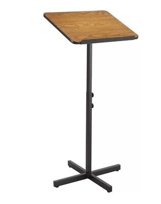 Freestanding Podium Adjustable Lectern Speaker Stand Oak Finish Presentation