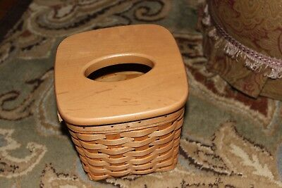 """Longaberger Tall """"Boutique"""" Tissue Basket ~ Excellent with Lid / 1999"""