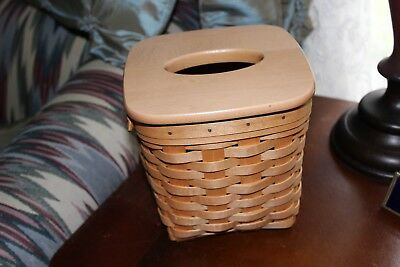 """Longaberger Tall """"Boutique"""" Tissue Basket ~ Excellent with Lid / 2001"""