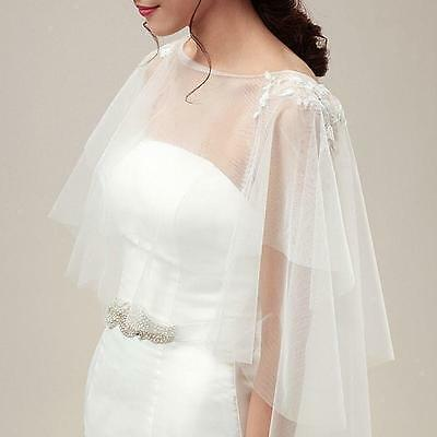 White Ivory Tulle Wedding Shrug Wrap Bridal Bolero Shawl