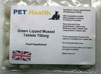 Green Lipped Mussel Tablets 120 x 750mg Dogs Cats Pets Joint Pain Arthritis
