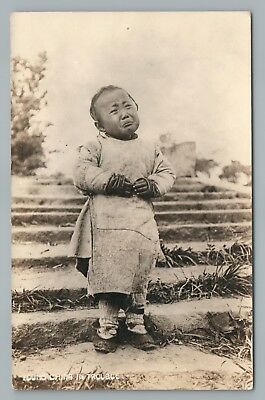 """""""Young China in Trouble"""" RPPC Crying Chinese Boy—Vintage Cute Photo 1930s"""