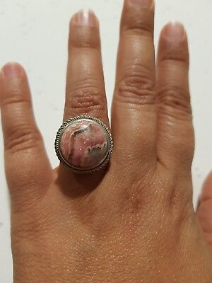 pink rhodonite and sterling silver ring