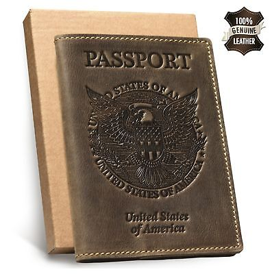 Leather Passport Holder Wallet Travel Card Case Cover Organizer Protector Brown