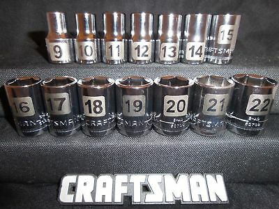 """NEW Craftsman 14pc 1/2"""" Drive Metric LASER ETCHED 6pt Sockets Set Tools Drive MM"""