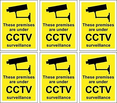 6 x CCTV Signs Self Adhesive 100mm x 75mm Suitable for Outdoor Use