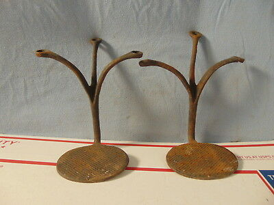 Early Oval Pr Of Cast Iron Horse Drawn Buggy Steps Original Barn Fresh Antique