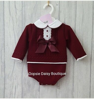Baby Girls Gorgeous Plum Ribbon Knitted 2 Piece Jam Suit ☆
