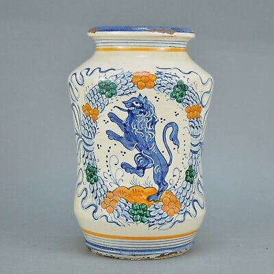 Pot de pharmacie en faience Decor polychrome florale et lion