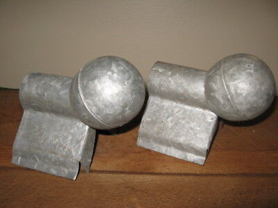Pair  Vintage Architectural Galvanized Tin Metal Ball Finial Roof Bracket Covers