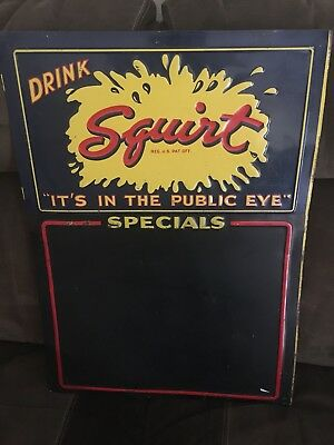 Squirt Menu Board Sign  Not Porcelain Soda Advertising