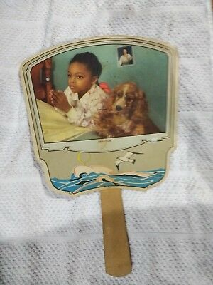 African American Girl Praying With Her Dog On C 1950 Cardboard Fan Galesville WI