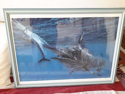 MELTZOFF STANLEY LITHOGRAPHY Black Marlin & Wahoo ORIGINAL SIGNED  1988