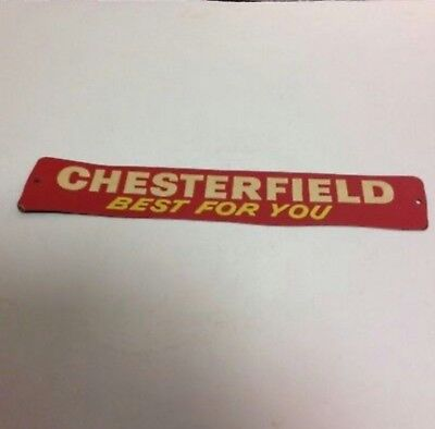"""Vintage Chesterfield """"Best For You"""" Door Push Sign 10.5"""" long NOS very nice"""