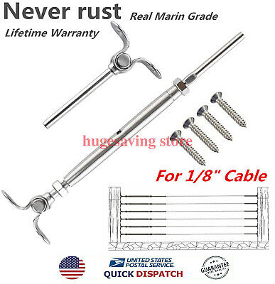 """100 Set T316 Stainless Steel Swage  Deck Toggle Tensioner Set 1/8"""" Cable Railing"""