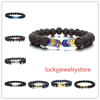 8 Colors Volcanic Lava Stone Bangle Magnet Arrow Beads Bracelet Men Women Z0152