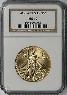 2006-W Burnished Gold Eagle $50 One Ounce MS 69 NGC 1 oz Fine Gold