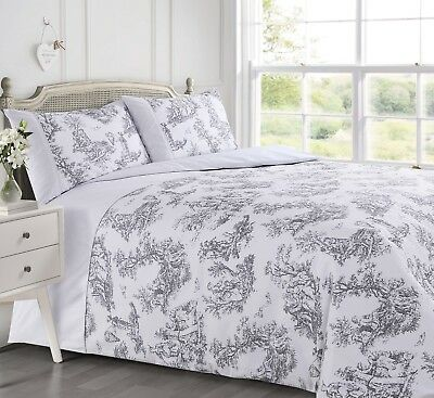 French Toile Grey White Waffle Duvet Quilt Cover Bedding Set Single Double King