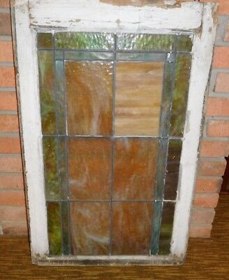 """ANTIQUE LEADED STAINED GLASS & WOOD WINDOW FRAME SIZE 1 1/2"""" x 21 1/4"""" x 33 1/4"""""""