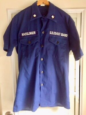Vintage US Coast Guard Men's BLUE Collar Button Operations Shirt L/XL