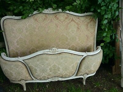 Original French Louis Xv Style Demi-Corbeille Double Bed White Crackle Glaze