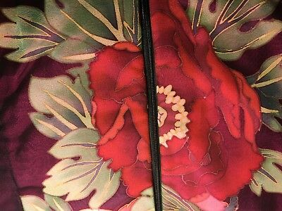 VTG Asian Quilted Silk Pant Suit Pink Red Peonies Mandarin Floral Holiday! S/M