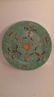 chinese Famille rose celadon plate