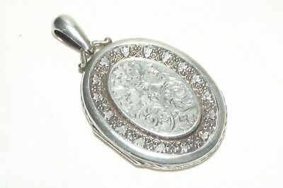 STUNNING  Victorian ANTIQUE Large DOUBLE PHOTO  Sterling Silver Locket