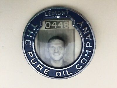 PURE OIL COMPANY Lemont Illinois Vintage Employee Badge #0448 with Photo