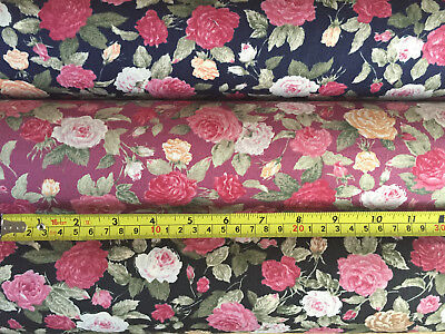100% Cotton Fabric Soft Vintage Floral Roses Retro Tea Dress Material Sewing
