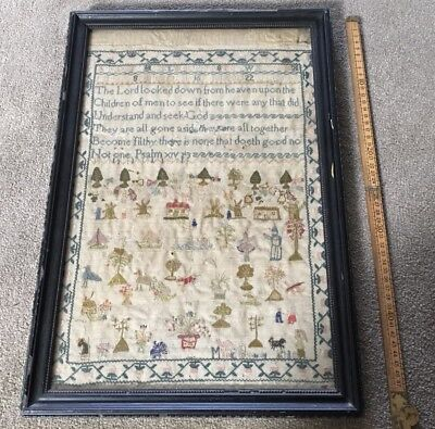 Antique Sampler, Small Motifs And Psalm, Mary Grimes, Antique Embroidery, 1830