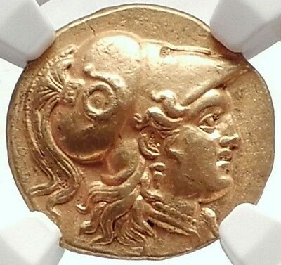 ALEXANDER III the GREAT Authentic 323 BC Gold Stater Certified NGC AU Fine Style